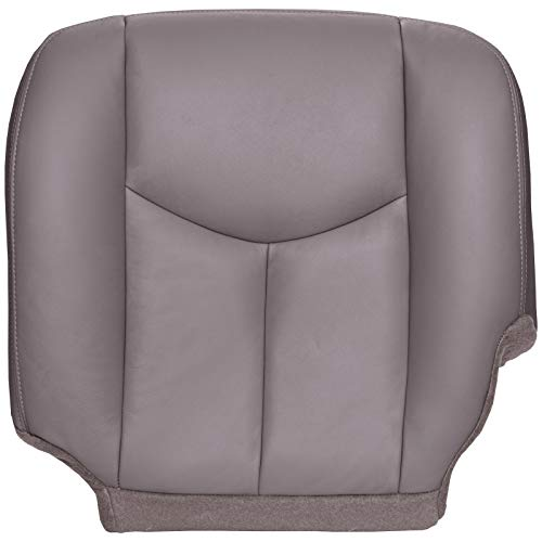 The Seat Shop Driver Bottom Replacement Seat Cover - Medium Dark Pewter (Gray) Leather (Compatible with 2003-2006 Chevrolet Tahoe, Suburban, Silverado, and GMC Yukon, Yukon XL, Sierra) (Chevy Tahoe Driver Seat Cover)