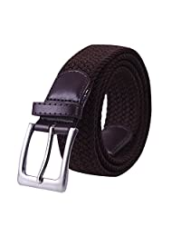HDE Men's Elastic Stretch Belt Faux Leather Woven Design W/ Silver Finish Buckle