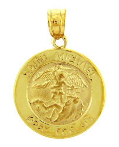 14 ct 585/1000 Or Religieux Pendentif - La St. Michael fur uS beten Or Jaune Pendentif
