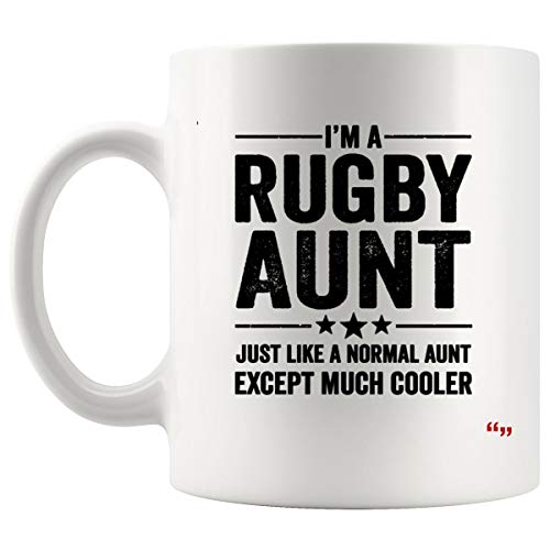 Joke Aunt Mug Auntie Coffee Cup - Aunt Mugs Rugby Aunt for Women Mother