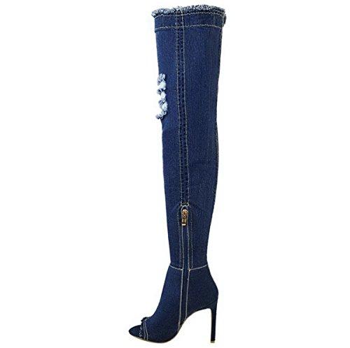 mujer NUEVO Sobre Rodilla Botas por encima de la Rodilla Tacón Aguja Tacones Elástico Vaqueros Zapatos Talla Azul Oscuro Vaqueros/rasgado