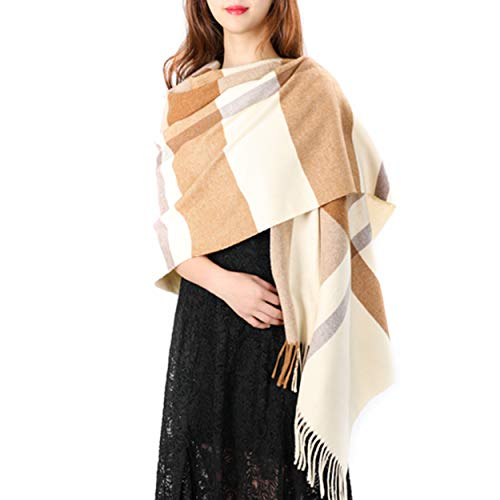 Women's Grid Shawl, Cashmere Blend Plaid Stole Scarf, Thick Soft Pashmina Wrap Lattice Large Wool Blanket 75'' x 24'' (Camel & Beige) (Beige Cashmere Blend)