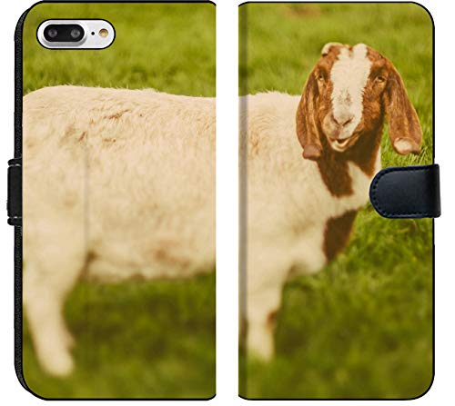 Luxlady iPhone 8 Plus Flip Fabric Wallet Case Image ID: 34232218 Goat on a Green Grass as Sign of 2015 Year by Chinese Calendar Vintage t