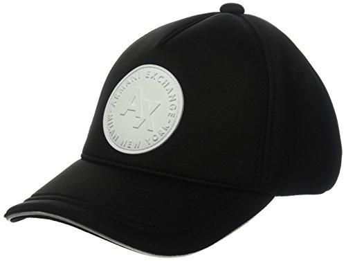 A|X Armani Exchange Armani Exchange Men's Circle Logo Patch Baseball Hat, Black, One - Black Hat Exchange Armani