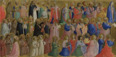 [The Perfect Effect Canvas Of Oil Painting 'Fra Angelico - The Virgin Mary With The Apostles And Other Saints,about 1423-4' ,size: 8x16 Inch / 20x41 Cm ,this Beautiful Art Decorative Prints On Canvas Is Fit For Garage Decoration And Home Artwork And] (C Viper Costumes)