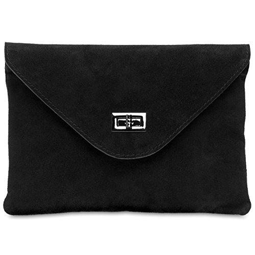 pour femme enveloppe véritable en Clutch Sac cuir TL719 CASPAR Noir 4Wn8q08