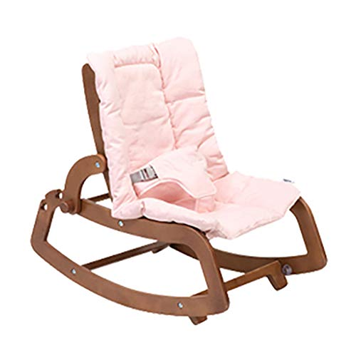 Nursery Rocking Chair with Wood Frame,Three-Point Seat Belt,Indoor Lounge Reclining Chair-Cotton Linen Cover in Living Room Balcony