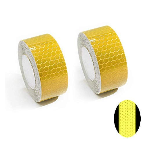 Maite Reflective Tape Self-Adhesive Tape for Wheelchair Walking Stick Footwear High Visibilty Reflective Safety Tape 3M×2.5CM Yellow 2pcs