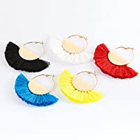 VK Accessories Semicircle Fan Shape Tassel Earrings Hoop Dangle Ear Drop Soriee for Women