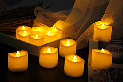 12 Pcs Premium LED Flameless Tea Lights Candles with Timer,6Hrs On, Dia:1.5''x1.5''H, Battery Operated LED Lighted Holiday(Yellow), Flickering Candles for Party&Home Decorations