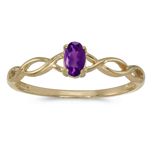 0.18 Carat ctw 14k Gold Oval Purple Amethyst Solitaire Infinity Twisting Engagement Fashion Promise Ring