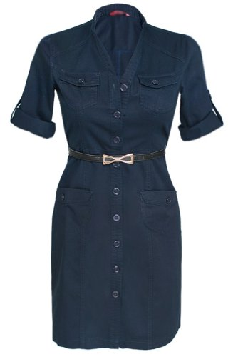 Glamour Empire Women's Mandarin Collar Combat Style Shirt Dress w/ Pockets 096 (US 4, Navy)