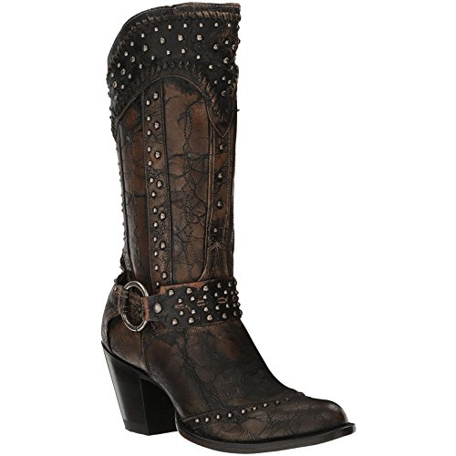 Women's Dan Post Sexy Back Boots Round Toe Handcrafted Black