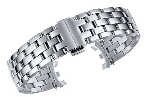 20mm Luxury Special Serrated End Watch Band Bracelet Replacement in Silver Stainless Steel Matte Finish (Serrated End)