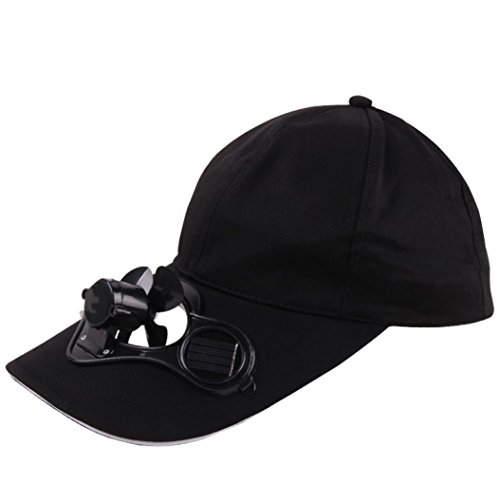Deesee(TM)Unisex Camping Hiking Peaked Cap with Solar Powered Fan Baseball Hat Cooling Fan Cap (Black)