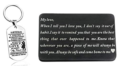 Laser Marking Stainless Steel Wallet Love Note Insert, Wallet Card Insert and Dog Tag Key Ring to My husband (set of 2) by CALIS