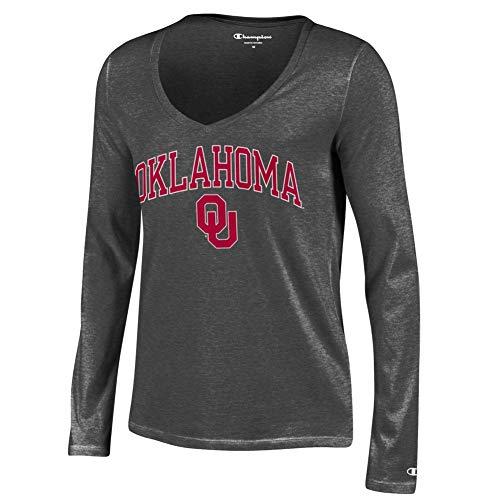 Oklahoma Ladies T-shirt - Elite Fan Shop Oklahoma Sooners Womens Vneck Long Sleeve Tshirt Charcoal - L