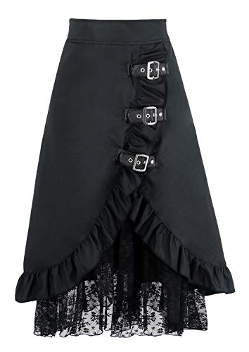 Renaissance Festival Halloween Costumes (Charmian Women's Steampunk Goth Vintage Victorian Gypsy Hippie Lace Party Skirt Black)