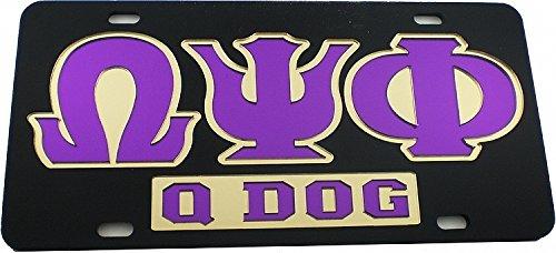 Omega Psi Phi Q Dog Mirror Insert Car Tag License Plate [Black - (Omega Psi Phi Clothing)