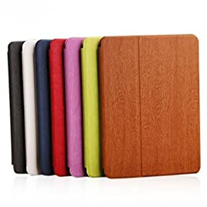 Wood Grain Folding Stand PU Leather Case Cover For iPad Air --- Color:Deep Blue