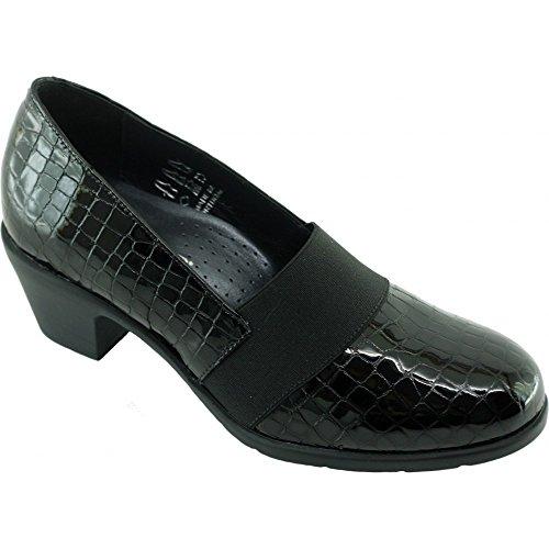 Femme Noir DUNIL Chaussures Pieds Vernis Talon Confort Trotteur Croco Aerobics A Très Cuir Sensibles Marque V Aéro noir Souple Mocassin 1TqxRpwz
