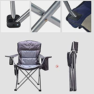 PELLIOT Portable Camping Chair Heavy Duty Lumbar Back Supports 300 lbs, Padded Hard Arm Folding Camp Beach Chair with Cup Holder: Kitchen & Dining