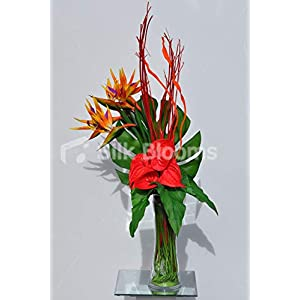 Silk Blooms Ltd Artificial Red Anthurium and Bird of Paradise Vase Arrangement w/Mitsumata Wood 85