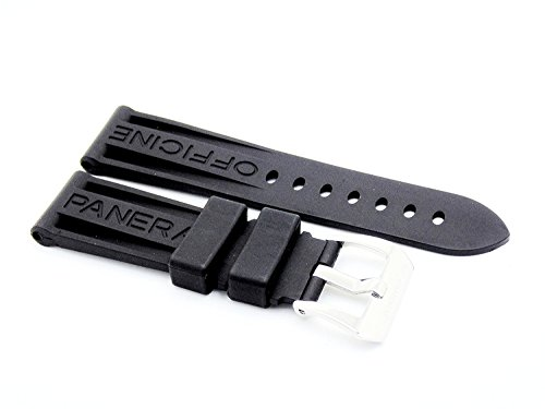 Black 24mm OEM style Silicone Rubber Watch Strap Band for Panerai
