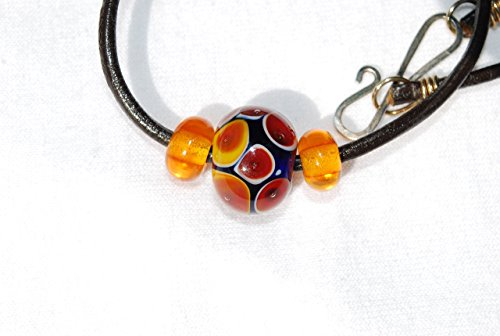 Handmade Artisian Glass Lampwork Necklace, Women's Jewelry, Amber Color Dot Cobalt Blue Glass Beads, Focal Bead Pendant , 22 Inch Black Leather Cord - Bead Focal Dot