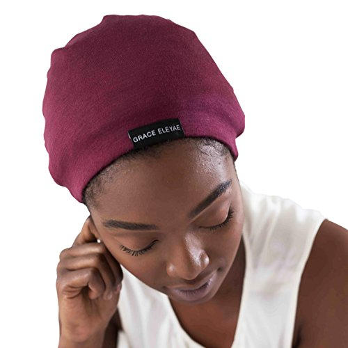 Grace Eleyae [Slap] Satin-Lined Sleep Cap, Womens Tam Hat Beanie, Medium, Wine Red
