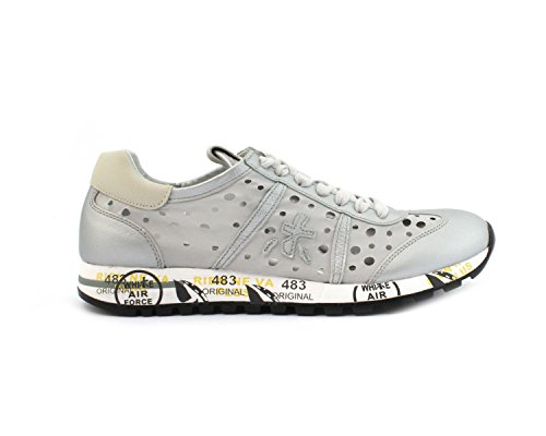 Premiata Ladies Lucy2948 Sneakers In Pelle Argento