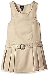 French Toast Big Girls\' Side Pleat Belted Jumper, Khaki, 8