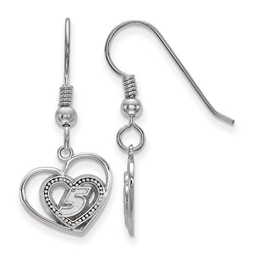 925 Sterling Silver Rhodium-plated LogoArt NASCAR # '5' Pierced Heart Pattern Charm Dangle Earrings -