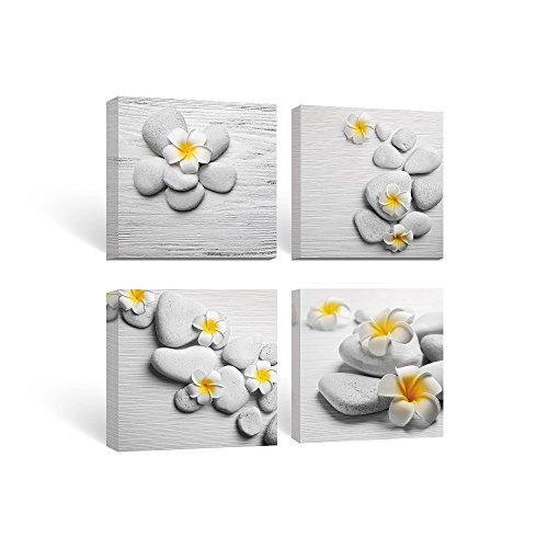 SUMGAR Framed Wall Art for Bathroom Canvas Paintings for Bedroom Yellow Flowers Frangipani Zen Stones,12''x12''x4 by SUMGAR