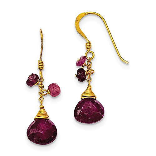 Sterling Silver & Vermeil Ruby Earrings