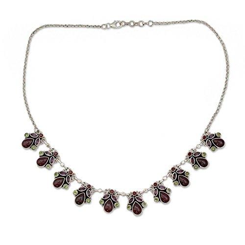NOVICA Multi-Gem Garnet .925 Sterling Silver Pendant Necklace, 18