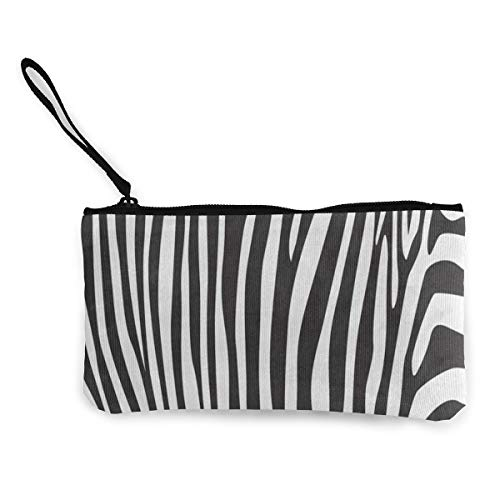 - Canvas Coin Purse Stripes Zebra Print Customs Zipper Pouch Wallet For Cash Bank Car Passport