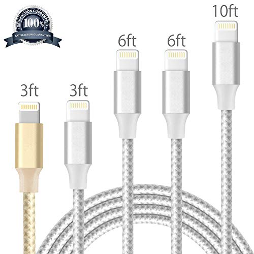 Lightning Cable, iPhone Cable Charger Cables Pack 5Pack 3FT 3FT 6FT 6FT 10FT to USB Syncing Data and Nylon Braided Cord Charger for iPhone X/8/8Plus/7/7Plus/6/6Plus/6s/6sPlus/5/5s/5c/SE and More
