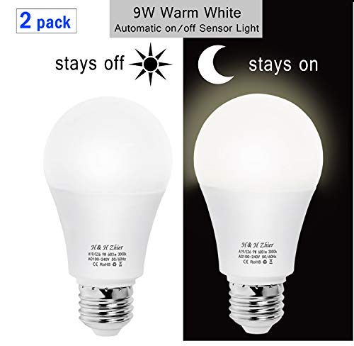 H&H Zhier Dusk-to-Dawn Light, 9W 3000K(Warm White) Sensor Bulbs, E26 Auto on/Off Outdoor Light Bulbs, Indoor/Outdoor Lighting Lamp for Porch, Hallway, Patio, Garage(2 Pack)
