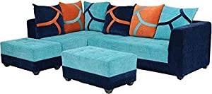 Lillyput Interio 7 Seater Wood Fabric Sofa, Standard Size, Finish Blue