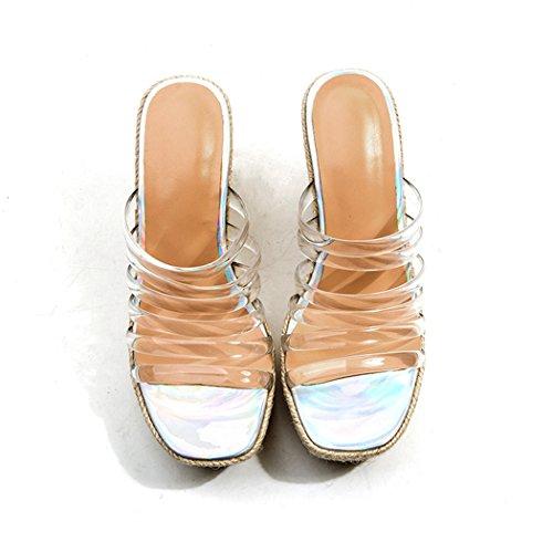 high ANNIESHOE Sandales Transparent Transparents Femme Heels Mules Confort Ete 4wxq0zf4