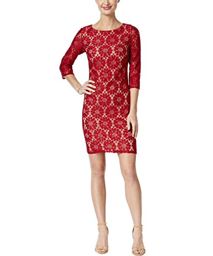 Jessica Howard Womens Petites Lace 3/4 Sleeves Wear To Work Dress Red 14P