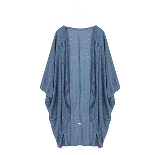 HN Loose Casual Knit Sweater Dresses For Women Coat Cardigan (XL, Light Blue) (Coat 3/4 Sleeve Advance)