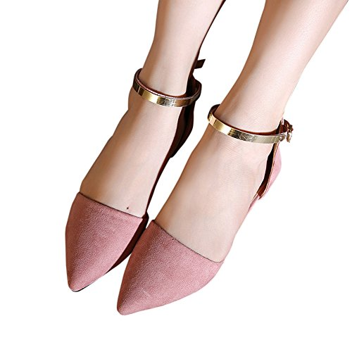Buckle Ankle Toe Heel Dress Chunky Pointed Strap Pink Pumps Suede D'orsay Fashion Womens Flats Sandals zwCq1w