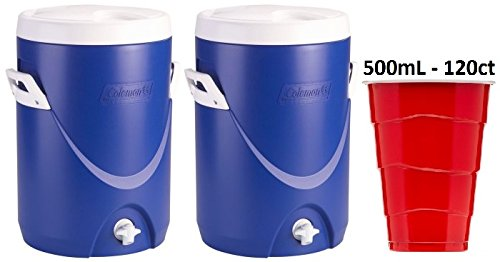Coleman 5-Gallon Team Cooler, BLUE (2 Coolers) with 120Count of 500ml Disposable Plastic Cups