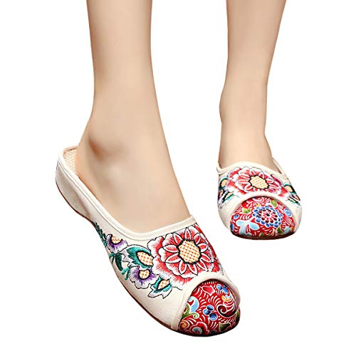 CINAK Embroidery Flats Slippers Flower- Casual Slip-ons Comfortable Loafer Chinese Embroidered Shoes Ballet Flats(6.5-7 B(M) US/UK4.5-5/EU37/CN38/24CM,Beige)