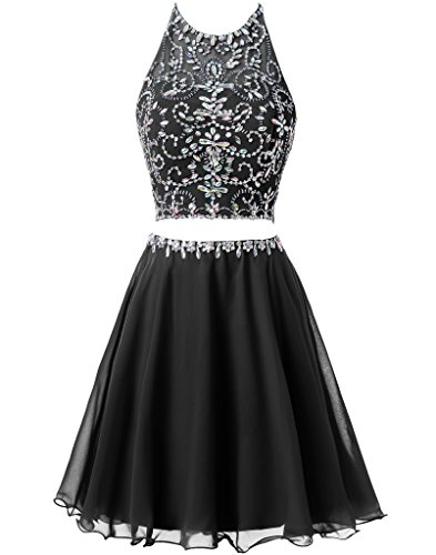 Topdress Women's Halter Two Piece Short Homecoming Dress Beading Chiffon Skirt Black US 10