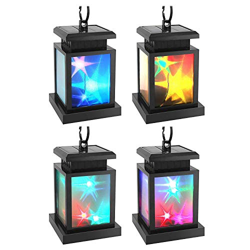 Solar Lantern Hanging, Derlights Color Changing Solar Star Flicker Lantern with Clamp, Auto On/Off Solar Garden Lights for Outdoor Garden Patio Pavilion Beach Umbrella Tree Decoration (4 Pack)