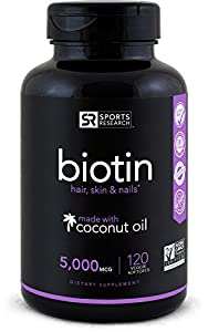 Biotin infused with organic virgin coconut oil - 5000iu (120 veggie-softgels)