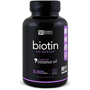 Biotin (High Potency) 5000mcg Per Veggie Softgel; Enhanced with Coconut Oil for better absorption; Supports Hair Growth, Glowing Skin and Strong Nails; ...